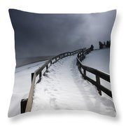 Snowy Pathway Throw Pillow