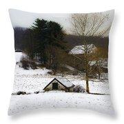 Snowy Pennsylvania Farm Throw Pillow