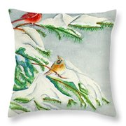 Snowy Pines And Cardinals Throw Pillow