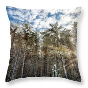 Snowy Pines With Sunflair Throw Pillow