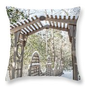 Snowy Promenade Throw Pillow