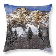 Snowy Ridge Above Bell Canyon - Wasatch Mountains - Utah Throw Pillow