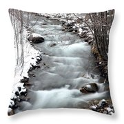 Snowy River At Mt. Hood Throw Pillow
