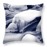 Snowy Rocks Throw Pillow