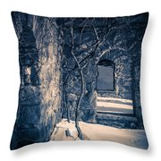 Snowy Ruins At Night Throw Pillow