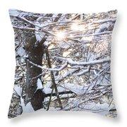 Snowy Sunbursts Throw Pillow