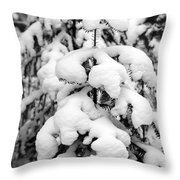 Snowy Tree - Black And White Throw Pillow