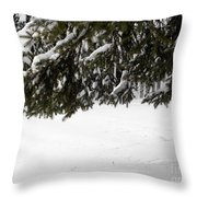 Snowy Tree Branches Throw Pillow