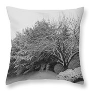Snowy Trees In Black And White Throw Pillow