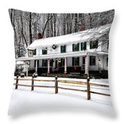 Snowy Valley Green Throw Pillow