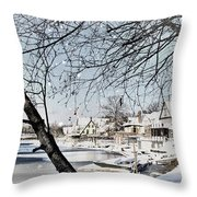 Snowy View Of Boathouserow Throw Pillow