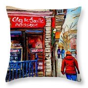 Snowy Walk By The Tea Room And Pastry Shop Winter Street Montreal Art Carole Spandau  Throw Pillow