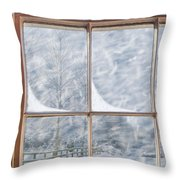 Snowy Window Throw Pillow