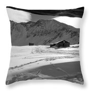 Snowy Window View Throw Pillow