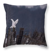 Snowy Wings Up Throw Pillow