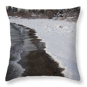 Snowy Winter Beach Patterns - Lake Ontario Toronto Canada Throw Pillow