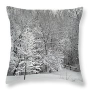 Snowy Woodland Throw Pillow