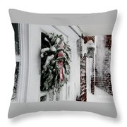 Snowy Wreath  Throw Pillow