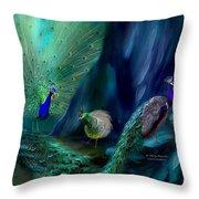 So Many Peacocks Throw Pillow