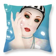 Soap Bubble Woman  Throw Pillow