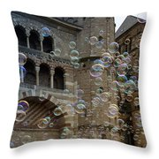 Soap-bubbles In Front Of An Ancient Cathedral Throw Pillow