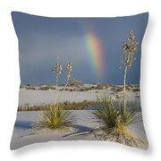 Soaptree Yucca And Rainbow White Sands Throw Pillow