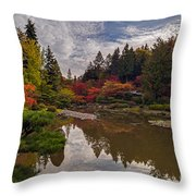 Soaring Autumn Colors In The Japanese Garden Throw Pillow