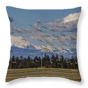 Soaring Skagit Snow Geese Throw Pillow