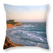 Socal Coastline Sunset Throw Pillow