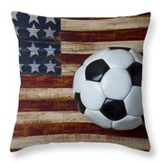 Soccer Ball And Stars And Stripes Throw Pillow