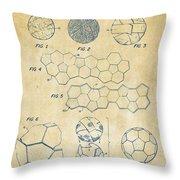 Soccer Ball Construction Artwork - Vintage Throw Pillow