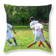 Soccer Ball In Play Throw Pillow