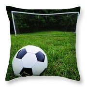 Soccer Ball On Field Throw Pillow