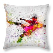 Soccer Player - Flying Kick Throw Pillow