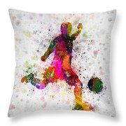Soccer Player - Kicking Ball Throw Pillow