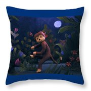 Sock Monkey In The Wild Throw Pillow