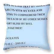 Socrates Quote In Cyan Throw Pillow