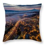 Sodo Sunrise Seattle Morning Throw Pillow