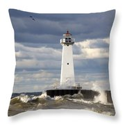 Sodus Outer Lighthouse On Stormy Lake Throw Pillow
