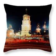 Sofiiska Square At Night Throw Pillow