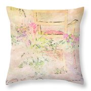Soft Floral Pastels Throw Pillow