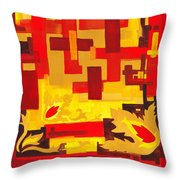 Soft Geometrics Abstract In Red And Yellow Impression I Throw Pillow