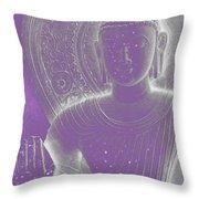 Soft Glow Purple Buddha Throw Pillow by Sally Rockefeller
