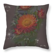 Soft Pastel Abstract Strawflowers Art Prints Throw Pillow