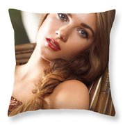 Soft Romantic Portrait Of A Young Woman In A Rocking Chair Throw Pillow