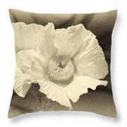 Soft Sepia White Poppy Matilija Flower Throw Pillow