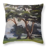 Soft Trees Throw Pillow