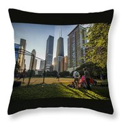 Softball By Skyscrapers Throw Pillow