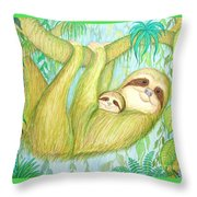 Soggy Mossy Sloth Throw Pillow