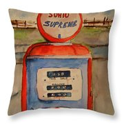 Sohio Gasoline Pump Throw Pillow